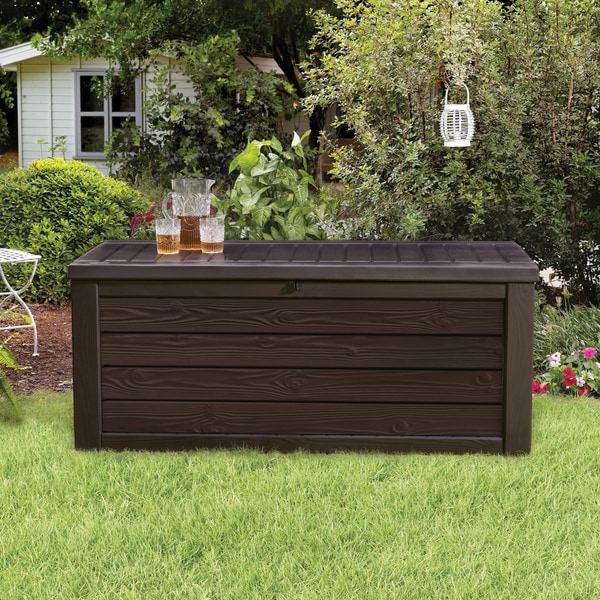 Shop Keter Westwood 150 Gallon Plastic Storage Deck Box Free Shipping Today Overstock 17928029