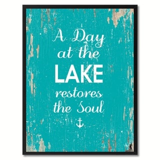 A Day At The Lake Restores The Soul Saying Canvas Print Picture Frame Home Decor Wall Art Gifts