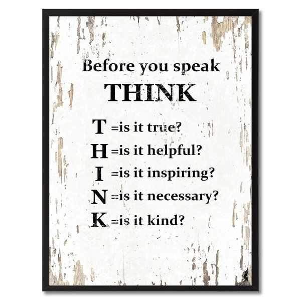 Before You Speak Think Saying Canvas Print Picture Frame Home Decor Wall Art Gifts