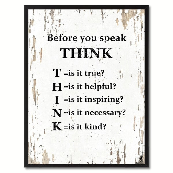 Shop Before You Speak Think Saying Canvas Print Picture Frame Home Decor Wall Art Gifts Free