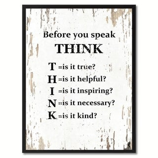 Before You Speak Think Saying Canvas Print Picture Frame Home Decor Wall Art Gifts (4 options available)