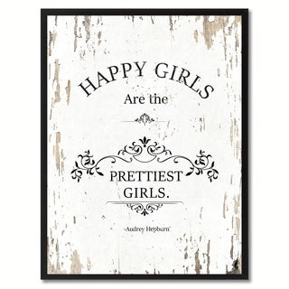 Happy Girls Are The Pretties Audrey Hepburn Saying Canvas Print Picture Frame Home Decor Wall Art Gifts