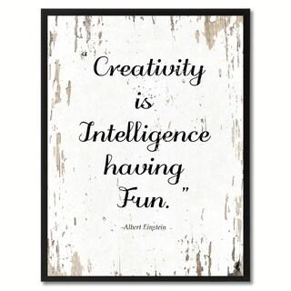 Creativity Is Intelligence Having Fun Albert Einstein Motivation Saying Canvas Print Picture Frame Home Decor Wall Art Gifts