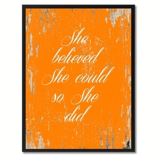 She Believed She Could So She Did Saying Canvas Print Picture Frame Home Decor Wall Art Gifts