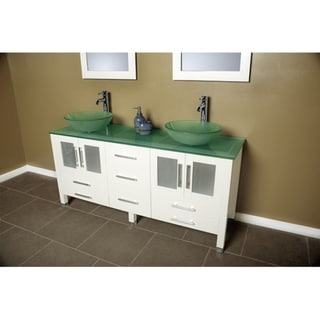 71 inch Solid Wood & Frosted Glass Double Vessel Sink Vanity Set with Polished Chrome Faucets.