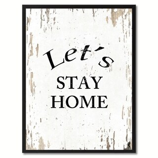 Let's Stay Home Saying Canvas Print Picture Frame Home Decor Wall Art Gifts