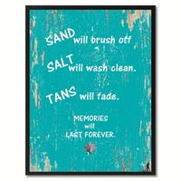 Sand Salt Tans Memories Will Last Forever Saying Canvas Print Picture Frame Home Decor Wall Art Gifts