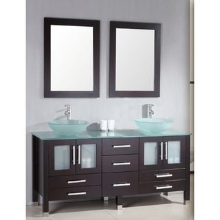 71 inch Solid Wood & Glass Double Vessel Sink Vanity Set with Polished Chrome Faucets