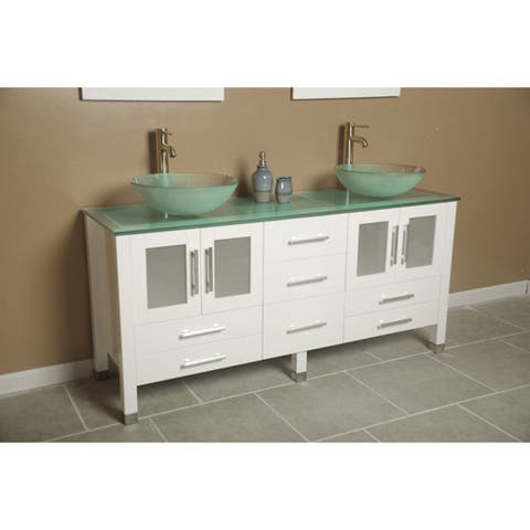 63 inch solid wood vanity with frosted glass counter top and two matching vessel sinks. Two tall faucet chrome.