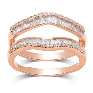 Unending Love 14k Rose Gold 1/2Ct TDW Round and Baguette Wrap Guard Ring (IJ I2-I3)