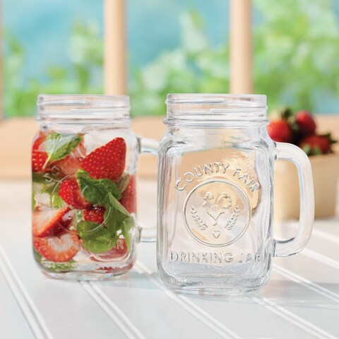 Libbey County Fair 12-Piece Glass Drinking Jar Set