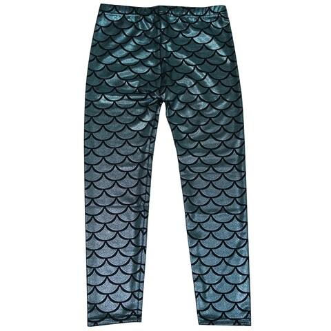 Simplicity Kids Mermaid Fish Scale Print Full Length Legging Pants