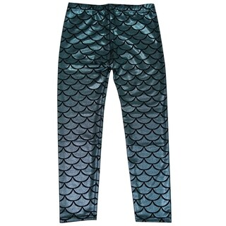 Simplicity Kids Mermaid Fish Scale Print Full Length Legging Pants