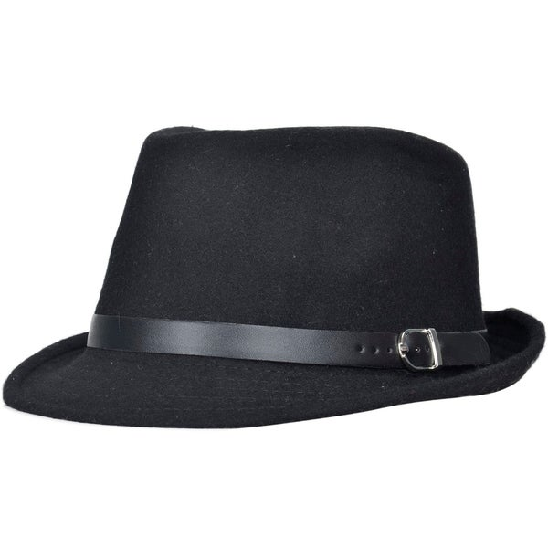 d97db34ac Shop Unisex Structured Gangster Trilby Wool Fedora Hat - Ships To ...