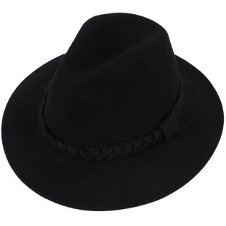 Women's Wide Brim Wool Felt Fedora Hat with Braided Band - Black
