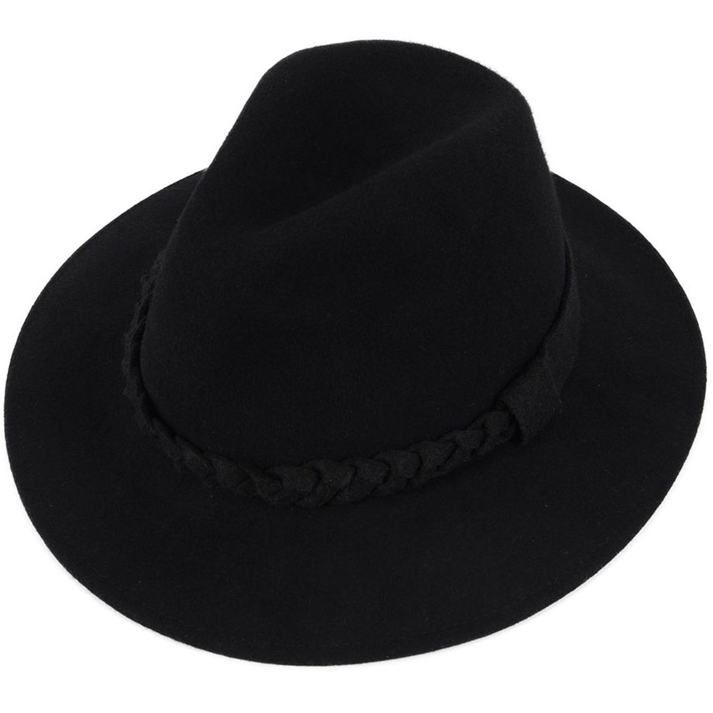 a67197e2565450 Shop Women's Wide Brim Wool Felt Fedora Hat with Braided Band ...