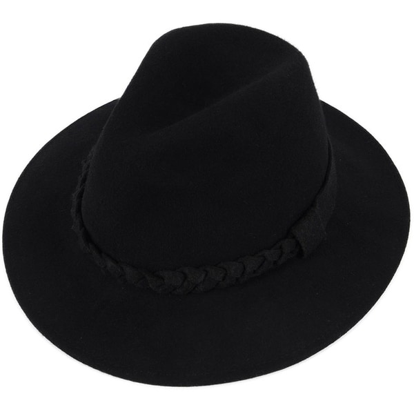 Women  x27 s Wide Brim Wool Felt Fedora Hat with Braided Band - Black b50ebe5cd5fe