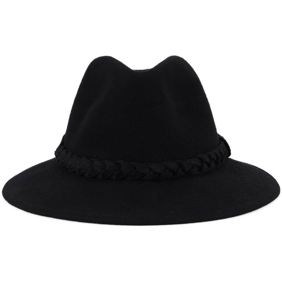 0b3873edcb21b0 Shop Women's Wide Brim Wool Felt Fedora Hat with Braided Band - Black -  Free Shipping On Orders Over $45 - Overstock - 17928397 - Black