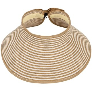 Women's Fashion Roll up Wide Brim Adjustable Straw Visor Hat