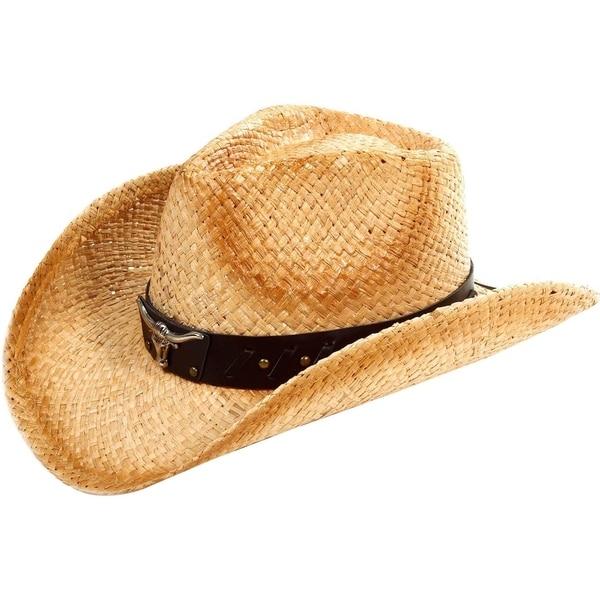 43e8abf2784 Shop Unisex Western Cowboy   Cowgirl Straw Banded Hat - Beige - Free ...