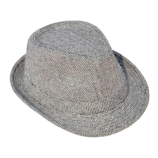 Unisex Teardrop-Dent Pinstriped Short Brim Fedora Hat
