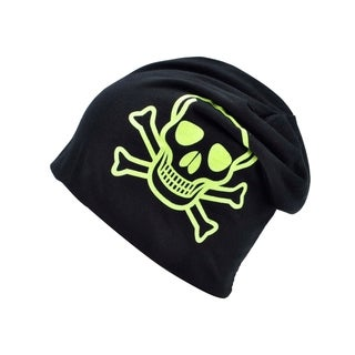 Adult Yellow/Black Skull and Crossbones Knit Winter Hat