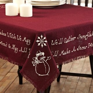 Burlap Merlot Snowflake Snowman Quote Table Topper