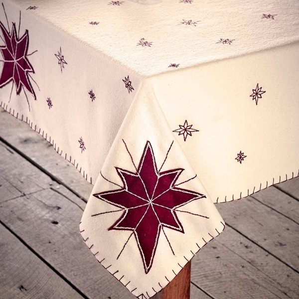 White Farmhouse Holiday Decor VHC North Star Table Topper Felt Star Appliqued - 40x40