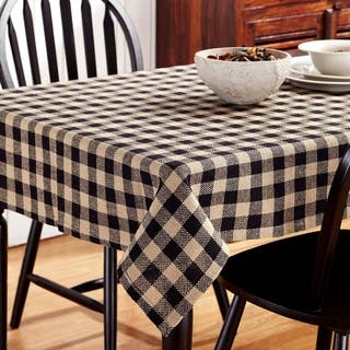 India tablecloths for less overstock burlap black check table topper junglespirit Image collections