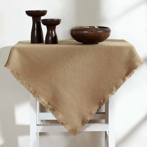 Tan Farmhouse Tabletop Kitchen VHC Burlap Natural Table Topper Cotton Solid Color Cotton Burlap - Table Topper 40x40