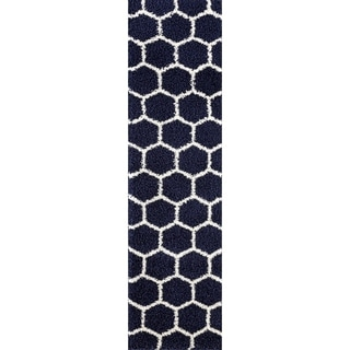 "Geometric Honeycomb Shag Area Rug Runner - 2' x 7'2"""