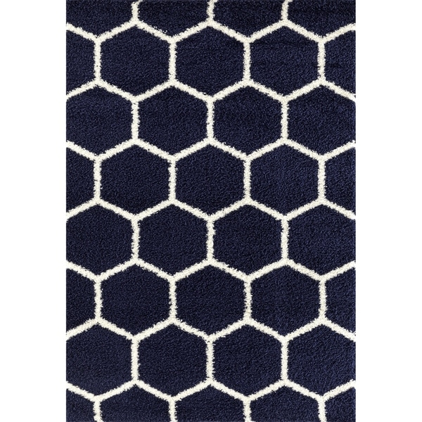 "Geometric Honeycomb Shag Area Rug - 7'10"" x 10'"