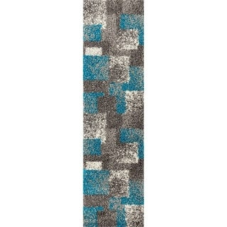 """Contemporary Geometric Boxes Shag Area Rug Runner (2' x 7'2"""")"""