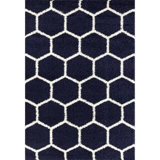 "Geometric Honeycomb Shag Area Rug - 5'3"" x 7'3"""