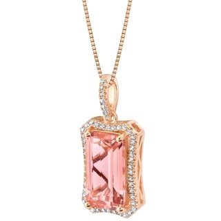 Link to Oravo Simulated Morganite Rose-Tone Sterling Silver Celestial Pendant Necklace - Pink Similar Items in Necklaces