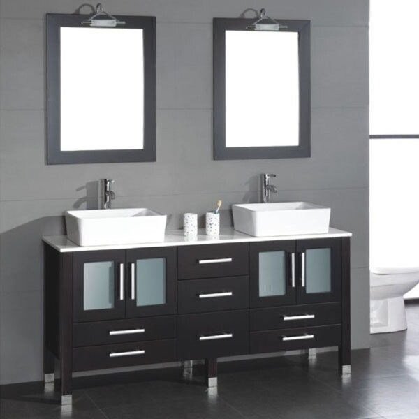 Shop 71 inch solid wood bathroom vanity set with a white porcelain counter top and two matching white vessel sinks. Chrome faucets - Free Shipping Today ...