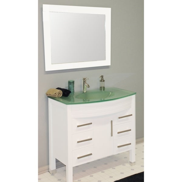 35 in White Wood & Glass Basin Sink Vanity Set with Brushed Nickel Faucets