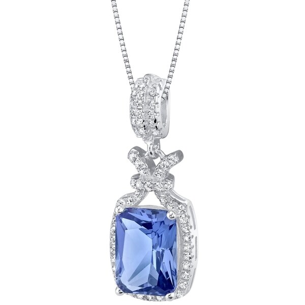 Oravo Simulated Tanzanite Sterling Silver Glam Pendant Necklace - Purple. Opens flyout.