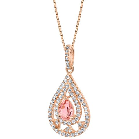 Oravo Simulated Morganite Rose-Tone Sterling Silver Divine Pendant Necklace - Pink