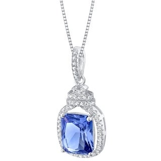 Link to Oravo Simulated Tanzanite Sterling Silver Glitz Pendant Necklace - Purple Similar Items in Necklaces