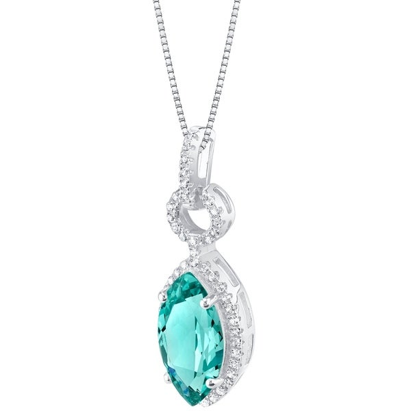 Oravo Simulated Paraiba Tourmaline Sterling Silver Royal Pendant Necklace - Green. Opens flyout.