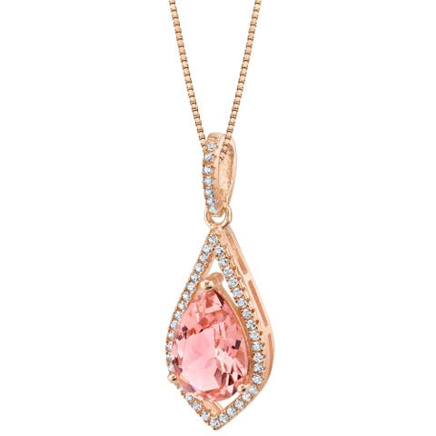 Oravo Simulated Morganite Rose-Tone Sterling Silver Regal Pendant Necklace - Pink