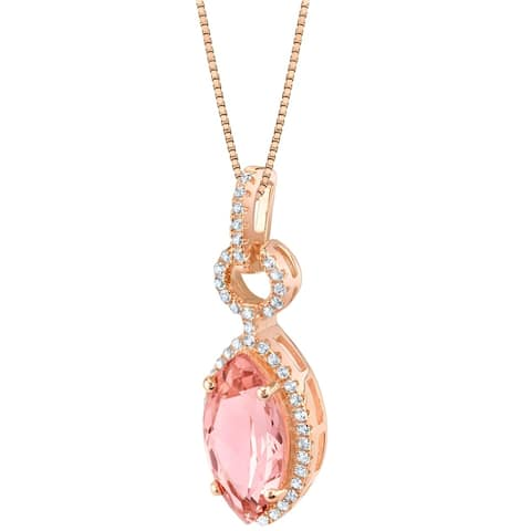 Oravo Simulated Morganite Rose-Tone Sterling Silver Royal Pendant Necklace - Pink