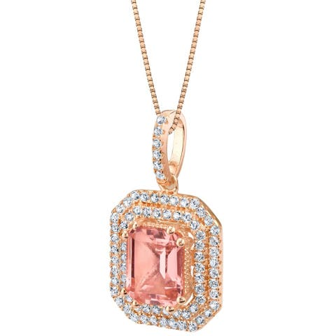 Oravo Simulated Morganite Rose-Tone Sterling Silver Octagon Pendant Necklace - Pink