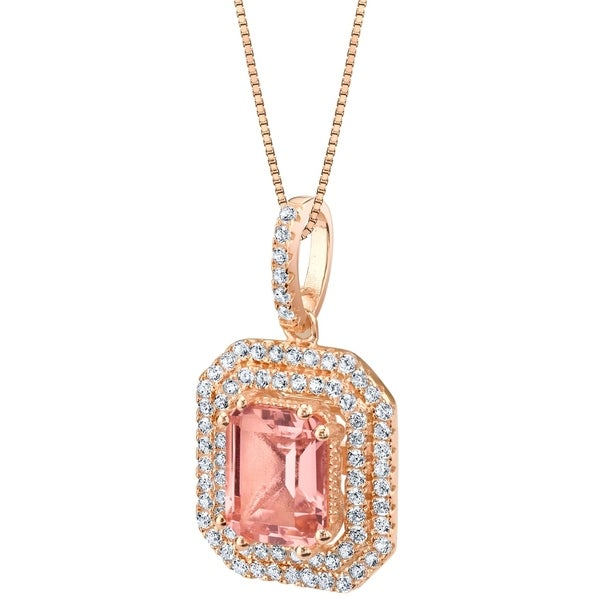Oravo Simulated Morganite Rose-Tone Sterling Silver Octagon Pendant Necklace - Pink. Opens flyout.