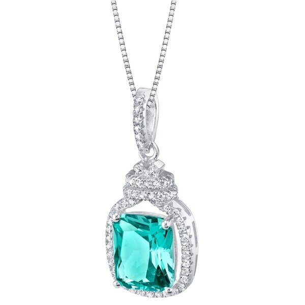 Oravo Simulated Paraiba Tourmaline Sterling Silver Glitz Pendant Necklace - Green. Opens flyout.
