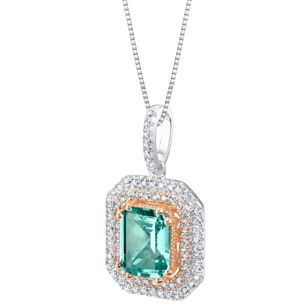 Oravo Simulated Paraiba Tourmaline Two-Tone Sterling Silver Octagon Pendant Necklace - Green. Opens flyout.