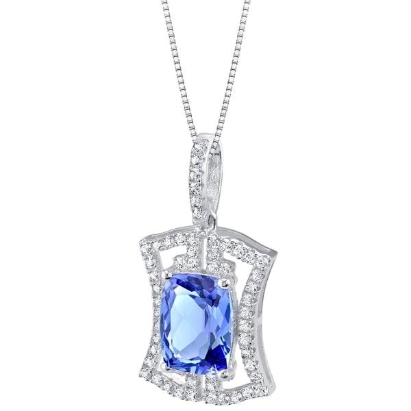 Oravo Simulated Tanzanite Sterling Silver Art Deco Pendant Necklace - Purple. Opens flyout.