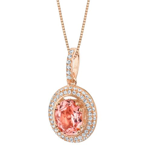 Oravo Simulated Morganite Rose-Tone Sterling Silver Harmony Pendant Necklace - Pink