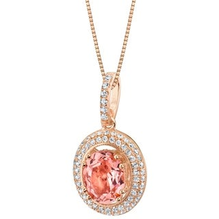 Link to Oravo Simulated Morganite Rose-Tone Sterling Silver Harmony Pendant Necklace - Pink Similar Items in Necklaces